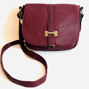 Call it Spring Maroon and Gold Studded Crossbody